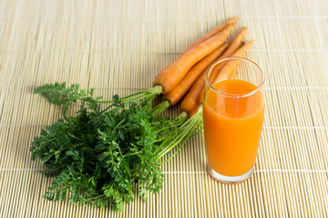 Fresh and organic carrot juice