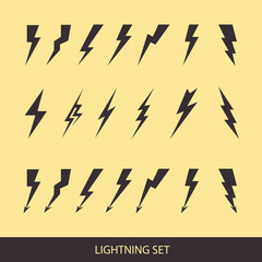 Lightning set on yellow. Huge vector icon set