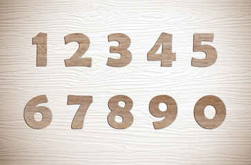 Wooden numbers on vintage white wood background