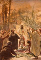Paint of entry of Jesus in Jerusalem (Palm Sanday).