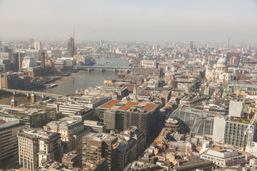 London aerial view with Thames and St Paul cathedral
