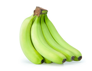 Green bananas on a white background