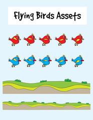 Love bird flying, art vector game asset
