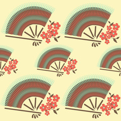 Chinese lace fan with tiny flowers sakura blossom seamless patte