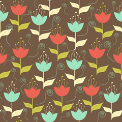 Colorful small flowers floral spring seamless pattern background
