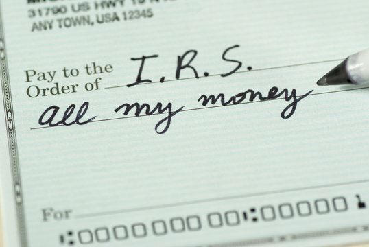 Check to Internal Revenue Service for All My Money