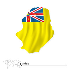 Map of Niue with flag