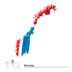 Map of Norway with flag
