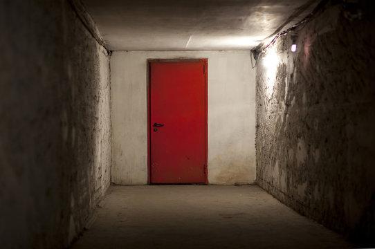 Red steel doors