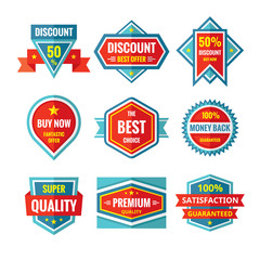 Sale and discount vector badges in flat style design