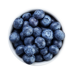 fresh ripe blueberries in white bowl directly above