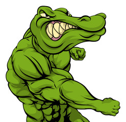 Alligator or crocodile mascot fighting