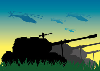 Vector illustration. Tanks and helicopters.