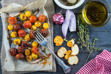 Clean eating,roasted tomato with herbs and olive oil