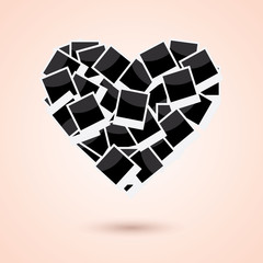 Heart of instant photo frame background, Vector
