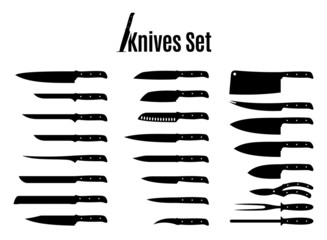 Vector Knives Set Isolated on White
