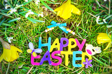 Wall Mural - Happy easter in garden