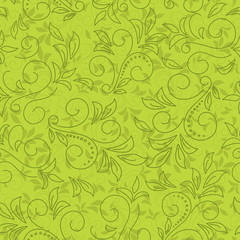 green seamless floral pattern - vector