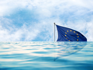 europe flag in water, as a symbol of crisis