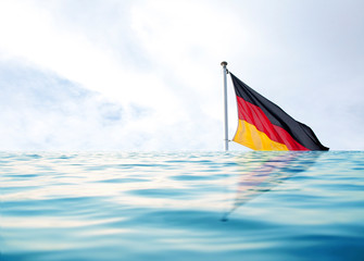 germany flag in water, as a symbol of crisis