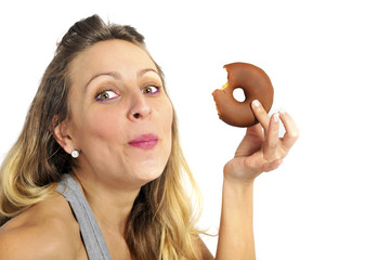 sexy naughty woman eating chocolate donut guilty expression