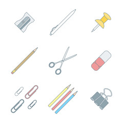 colored outline various stationery icons set