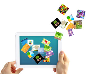 Touch screen tablet with streaming images isolated on white