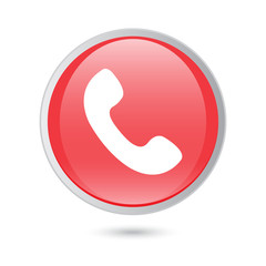 Telephone receiver vector icon. phone icon. red glossy button
