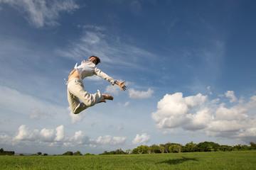 happy free man jumping