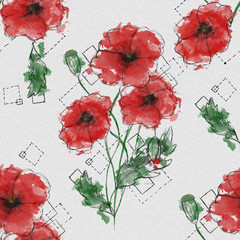 Fotobehang Abstract bloemen Seamless pattern with watercolor painted red poppy