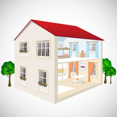 House flat 3d web isometric concept vector illustration