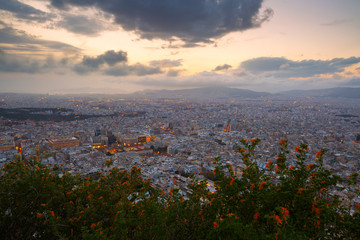 City of Athens as seen from Lycabettus Hill, Greece.