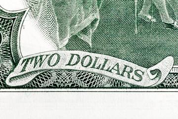 Two dollars - Inscription on U.S. money.