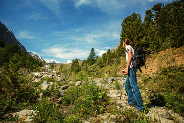 Hiker travel in the mountains