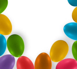 colorful eggs on white paper background