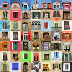 abstract wall made of many beautiful old windows Italy, Europe