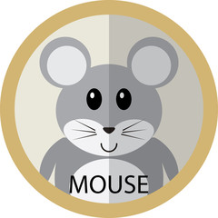 Cute grey mouse cartoon flat icon avatar round circle