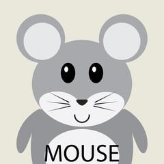 Cute grey mouse cartoon flat icon avatar