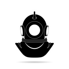 Diver helmet, black silhouette on a white background