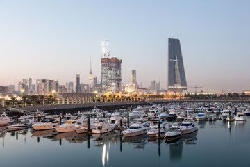 Wall Mural - Souk Sharq Marina and Kuwait City at dusk, Middle East, Arabia