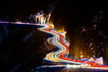 Traffic light trails on the Hawk's Nest winding road