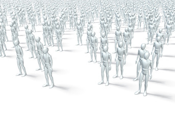 Gruppe weißer Figuren, wartend
