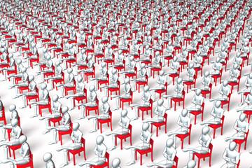 Riesige Gruppe Wartender, Patienten auf roten Stühlen