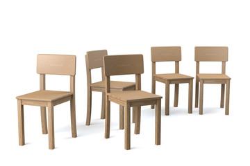 Gruppe Holzstühle, freigestellt, auf weiß
