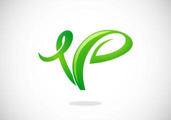 vegan botany V letter vector logo