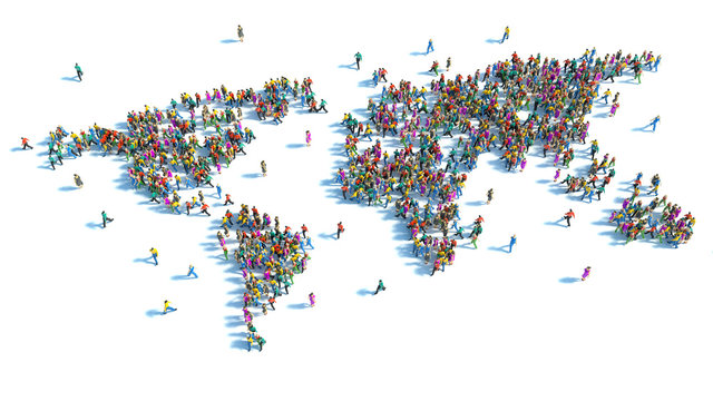 Large group of people standing in the form of a world map