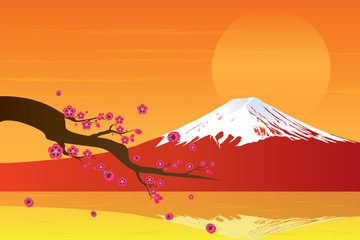 Sunset Fuji Mountain and Cherry Blossom