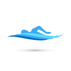 Freestyle Swimmer Silhouette with Water Pool Waves. Vector