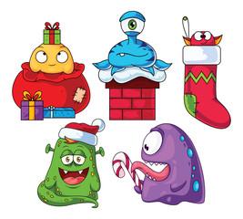 Christmas Cartoon Monsters Set 1