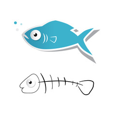 Paper Cut Fish and Fishbone Vector Illustration